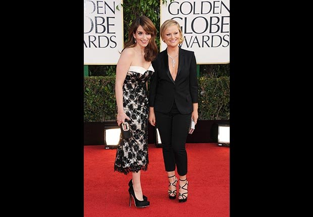 Hosts Tina Fey and Amy Poehler at 70th Annual Golden Globe Award