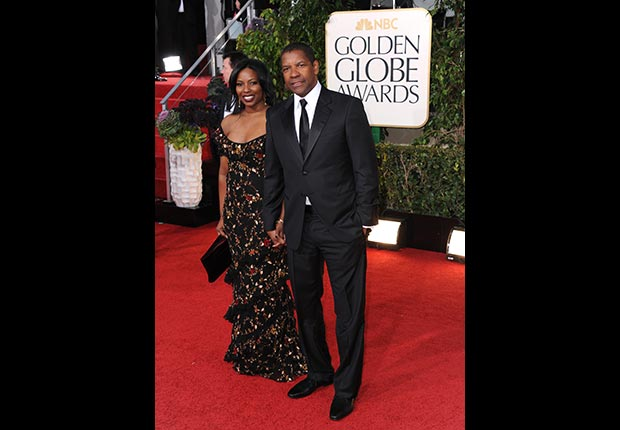 Pauletta Pearson Washington and Denzel Washington arrive at the 70th Annual Golden Globe Awards