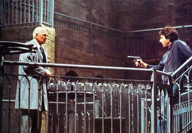 Actor Dustin Hoffman y Laurence Olivier en la película Marathon Man en 1976