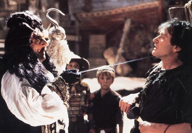 Dustin Hoffman y Robin Williams en la película Hook en 1991