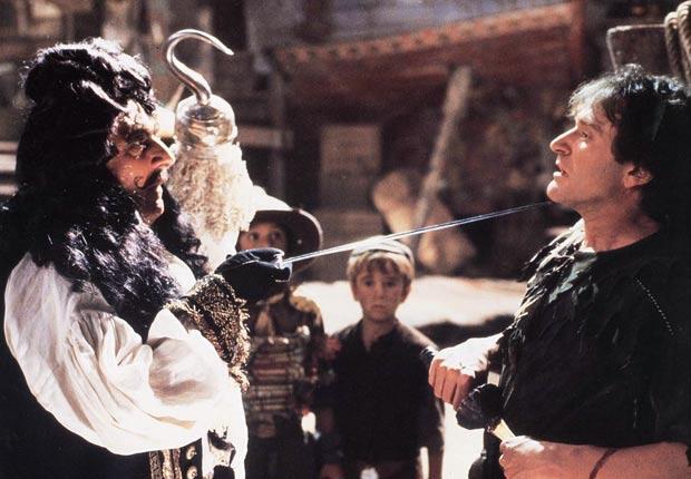 Dustin Hoffman y Robin Williams en la película Hook en 1991