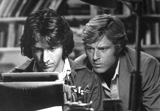 Actor Dustin Hoffman y Robert Redford en la película All the President's Men en 1976.