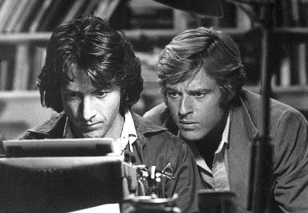 Actor Dustin Hoffman y Robert Redford en la película All the President's Men en 1976.
