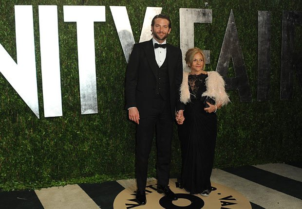 from left, actor Bradley Cooper and mother Gloria Cooper arrive at the 2013 Vanity Fair Oscars Viewing and After Party