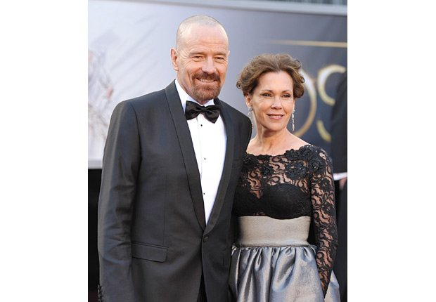 Actor Bryan Cranston, left, and wife Robin Dearden arrive at the Oscars