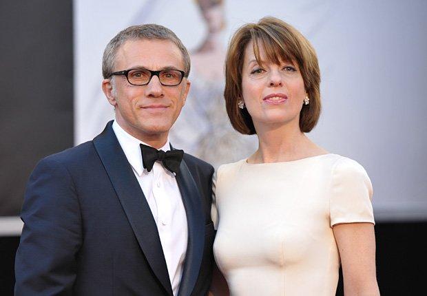 Actor Christoph Waltz con su esposa, Judith Holste - Alfombra roja Oscar 2013.