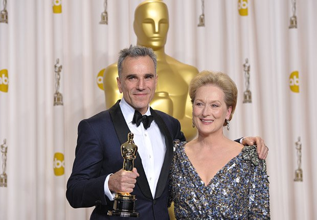 Daniel Day Lewis and Meryl Streep in the press room at the Oscars