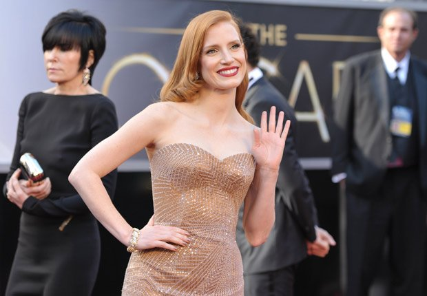 Jessica Chastain arrives at the 85th Academy Awards