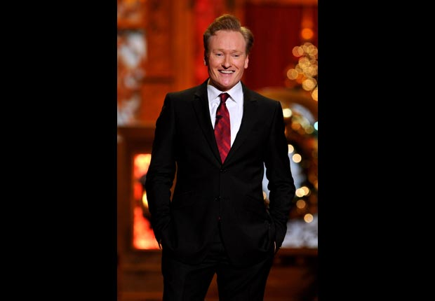 Host Conan O'Brien speaks onstage during TNT Christmas, April Birthday