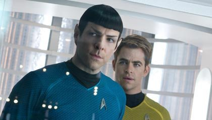 Zachary Quinto and Chris Pine in Star Trek Into Darkness, STAR TREK INTO DARKNESS