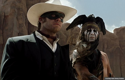 Johnny Depp (R) and Armie Hammer star as Tonto and The Lone Ranger (Courtesy Walt Disney Studios)