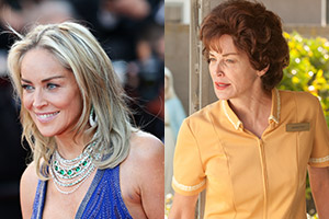 Left: Sharon Stone at the 66th Annual Cannes Film Festival. Right: Sharon Stone in Lovelace.