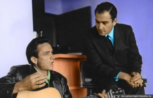 Johnny Cash and Saul Holiff in My Father and the Man in Black. (Ron Joy/New Chapter Productions, Inc.)