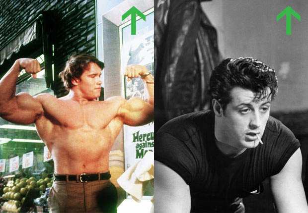 Arnold Schwarzenegger in Hercules in New York, 1970; Sylvester Stallone in Lords of Flatbush, 1974.