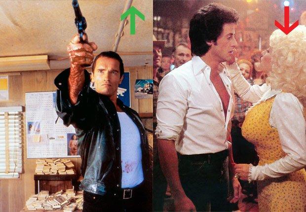 Arnold Schwarzenegger in Terminator, 1984; Sylvester Stallone and Dolly Parton in Rhinestone, 1984.
