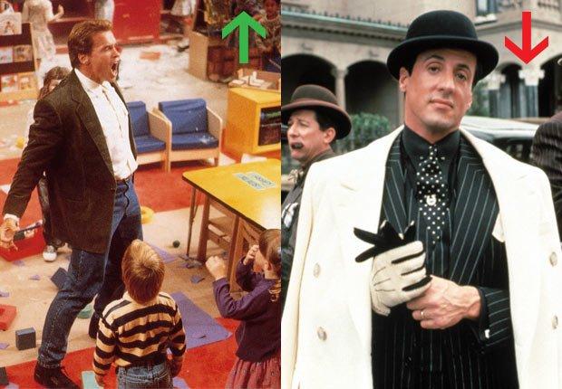 Arnold Schwarzenegger en Kindergarten Cop, 1990; Sylvester Stallone en Oscar, 1991.