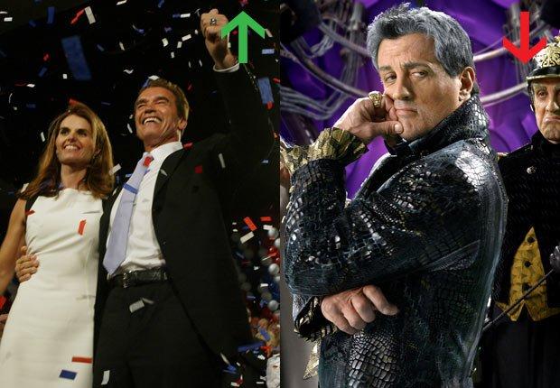 Arnold Schwarzenegger elegido Gobernador de California, 2003; Sylvester Stallone en Spy Kids 3-D, 2003.