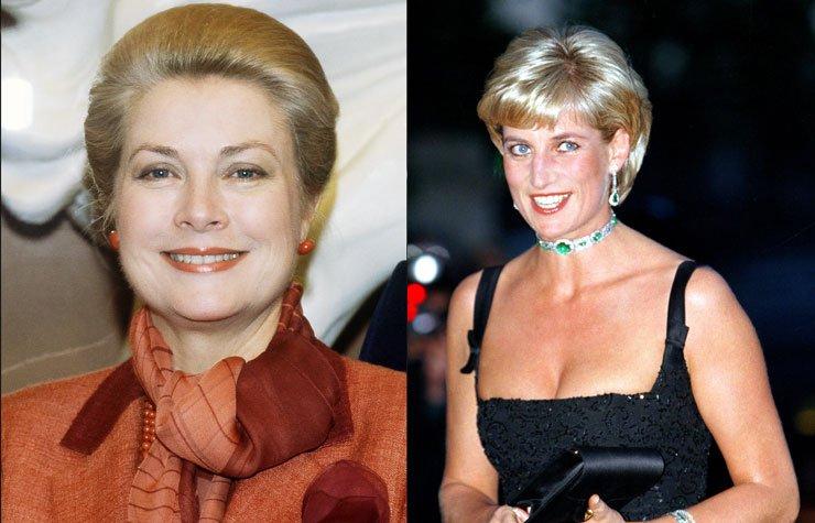 Left: Princess Grace of Monaco, 1982. Right: Princess Diana on her 36th birthday, 1997.