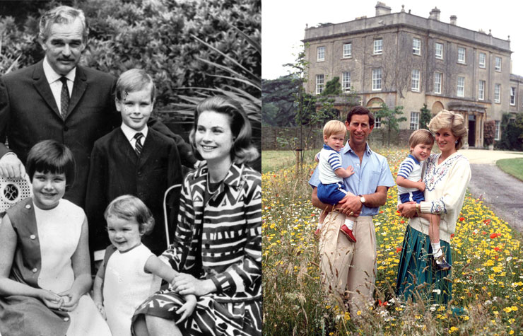 Left: Portrait of the Monegasque royal family, 1967. Right: Princess Diana and Prince Charles with sons William and Harry, 1986.