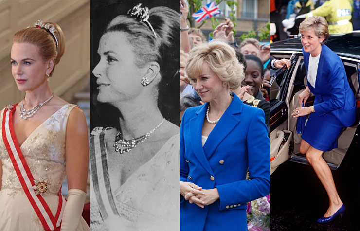 Photo comparison showing Nicole Kidman as Grace Kelly, and Naomi Watts as Princess Diana.