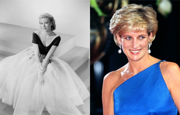 Left: Grace Kelly in 1954. Right: Princess Diana in 1996.