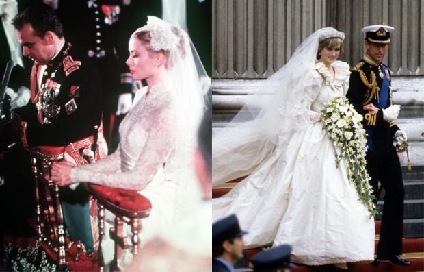 A la izquierda el príncipe Rainiero III y la princesa Grace en su día de la boda, 1956. A la derecha la princesa Diana y de la boda real del príncipe Carlos en 1981.