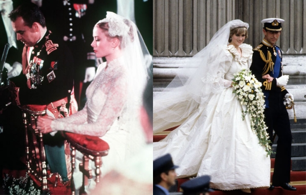 Left: Prince Rainier III and Princess Grace on their wedding day, 1956. Right: Princess Diana and Prince Charles' royal wedding in 1981.