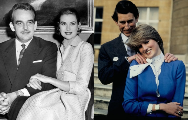 Left: Prince Rainier and Grace Kelly, 1956. Right: Lady Diana and Prince Charles, 1981.