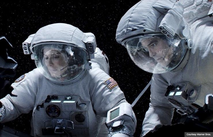 Sandra Bullock and George Clooney in Gravity. (Courtesy Warner Bros)