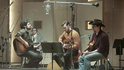Oscar Isaac, Garrett Hedlund and Adam Driver in Inside Llewyn Davis. (Courtesy CBS Films)