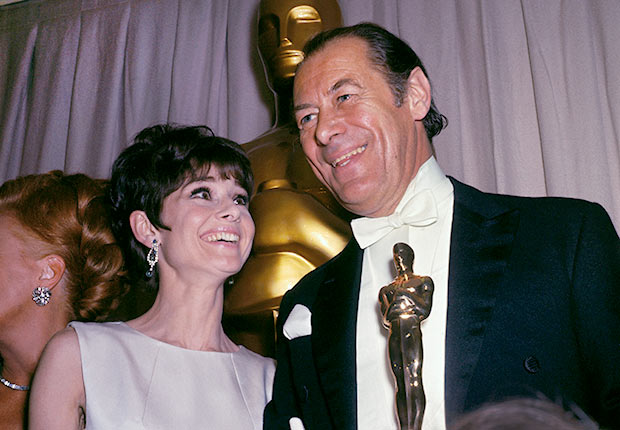 Audrey Hepburn with Rex Harrison Holding Academy Award
