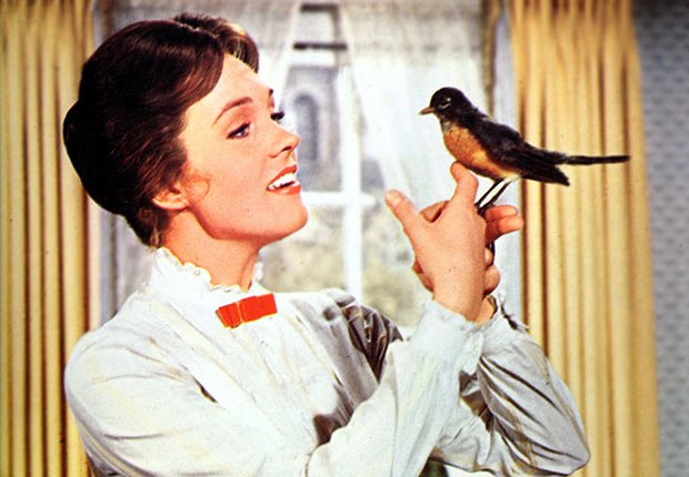 Julie Andrews in the movie, Mary Poppins.