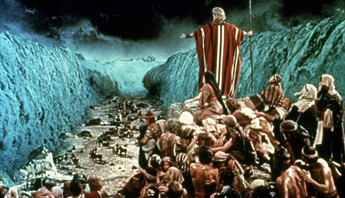 Charlton Heston, parting the Red Sea, in 'Ten Commandments' one of the best bible movies