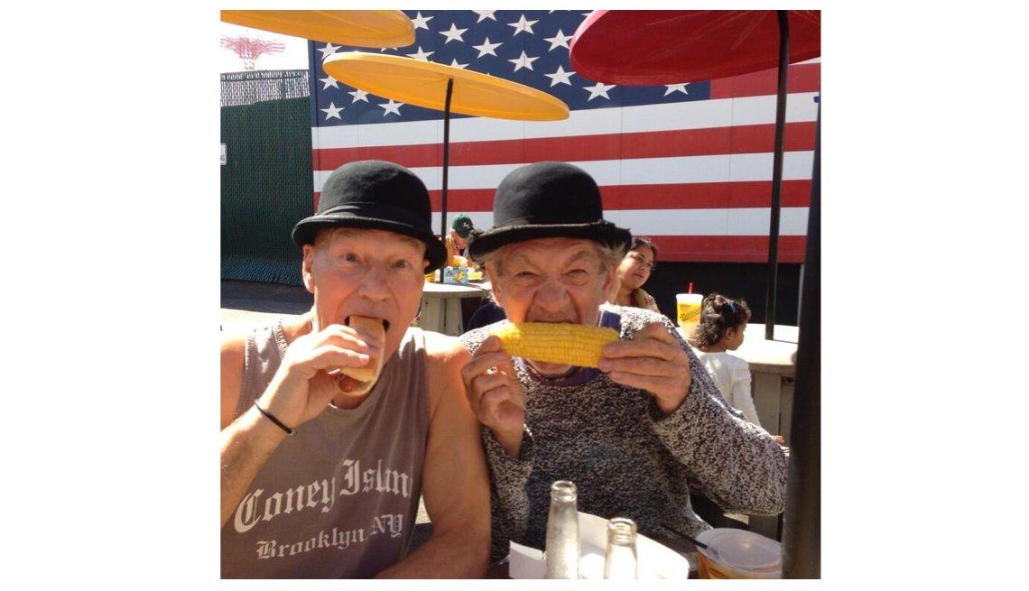 Sir Ian McKellen, Sir Patrick Stewart, Hot Dogs, Corn On The Cob, Coney Island, Patrick Stewart Interview
