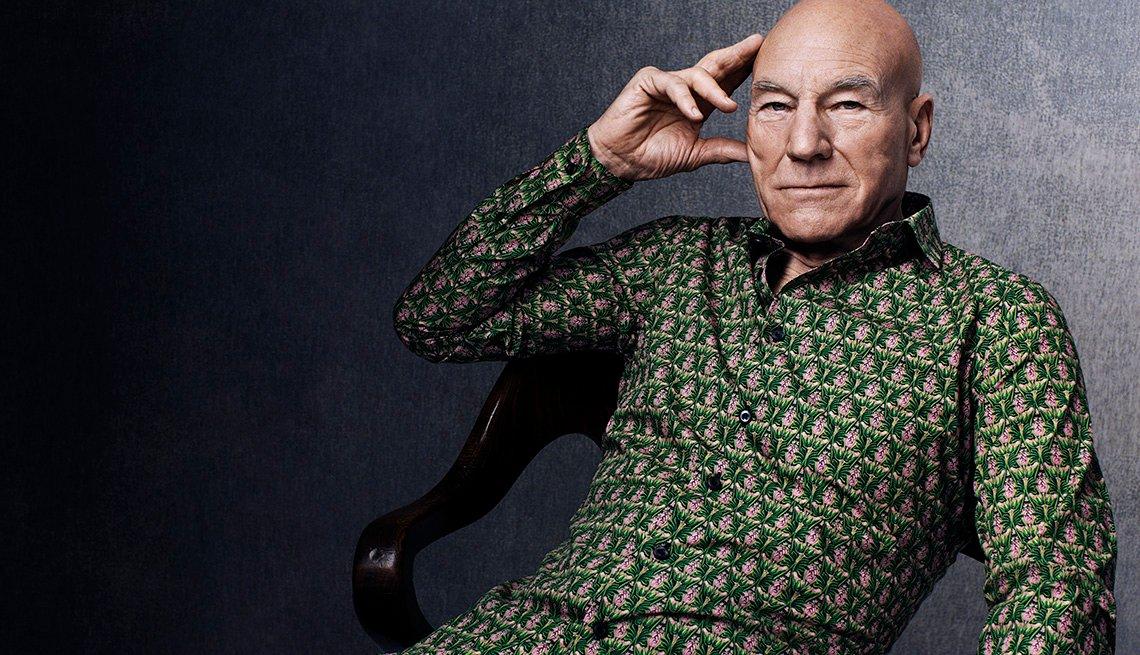 Sir Patrick Stewart, Actor, Pink Green Shirt, Patrick Stewart Interview