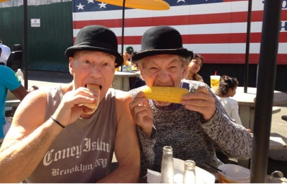 Sir Patrick Stewart and Sir Ian McKellan enjoy Nathan's hot dogs at  Coney Island, New York during the Summer of 2013.