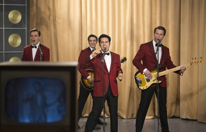 John Lloyd Young, Vincent Piazza, Erich Bergen and Michael Lomenda star in Jersey Boys.