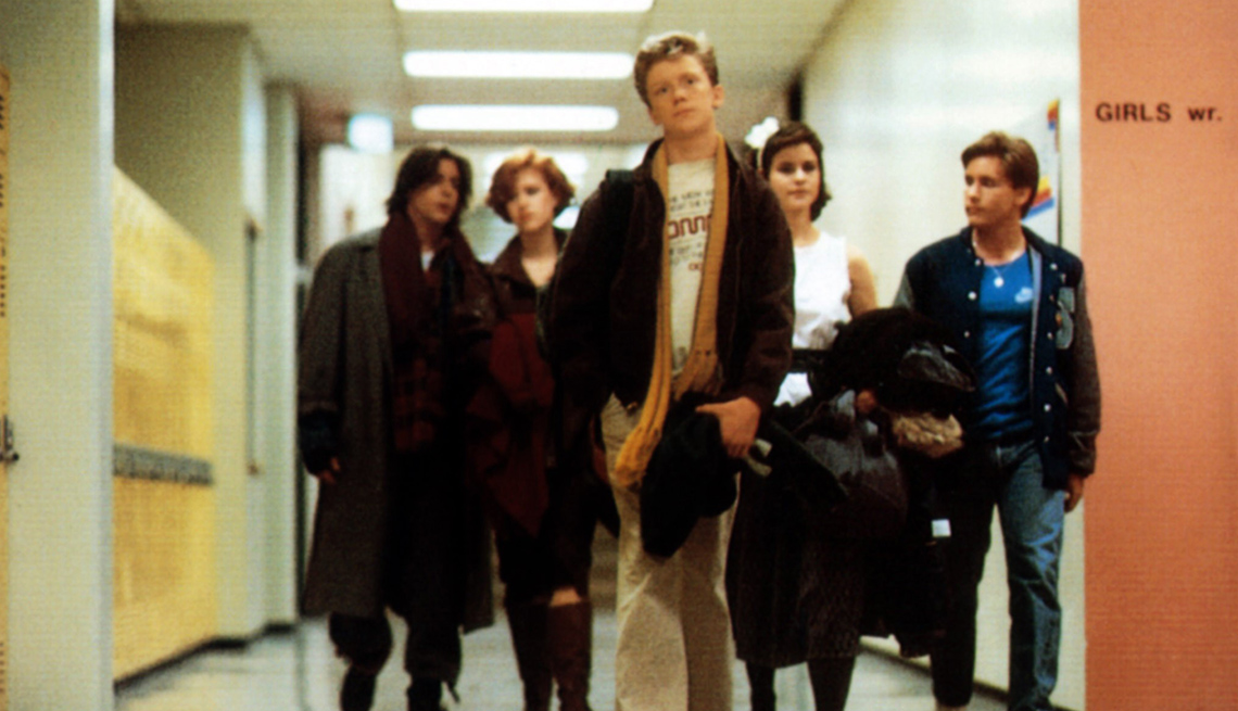 Scene From The Movie, The Breakfast Club, The 80s, Judd Nelson, Molly Ringwald, Anthony Michael Hall, Ally Sheedy and Emilio Estevez, The Brat Pack Then And Now