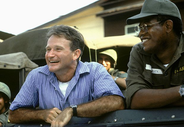 Robin Williams and Forrest Whitaker star in Good Morning Vietnam, 1987. Robin Williams: 10 Unforgettable Roles.