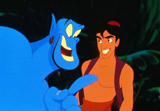 Robin Williams como la voz del genio en la película Aladino, 1993. Robin Williams: 10 papeles inolvidables