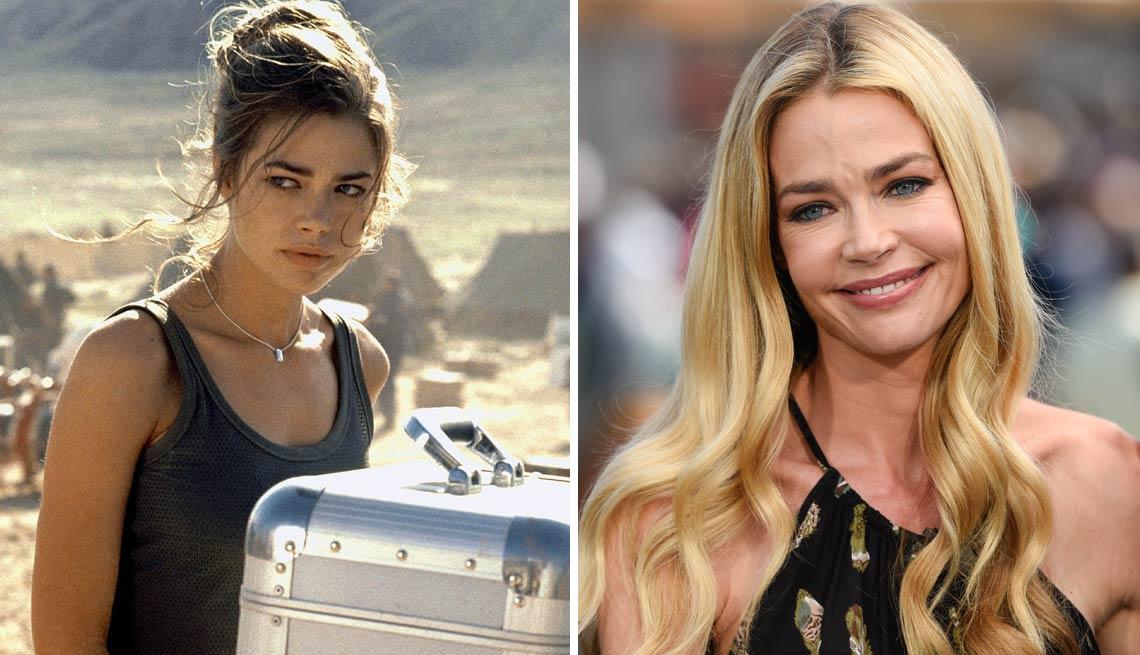 On the left, Denise Richards as a Bond girl; on the right, Denise Richards today