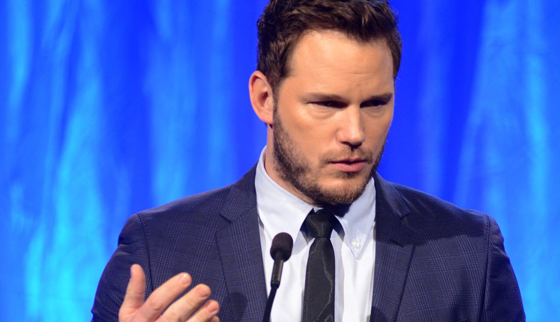 Chris Pratt is seen presenting an award at AARP the Magazine's