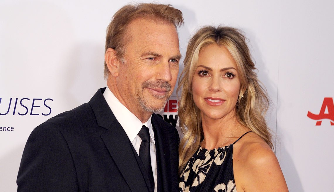 Kevin Costner and wife, Christine Baumgartner, are seen at AARP the Magazine's