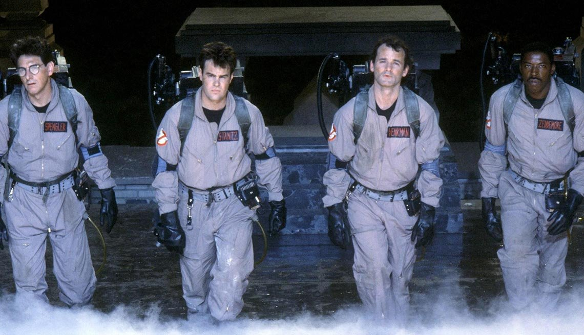 Harold Ramis, Dan Aykroyd, Bill Murray and Ernie Hudson in 'Ghostbusters'