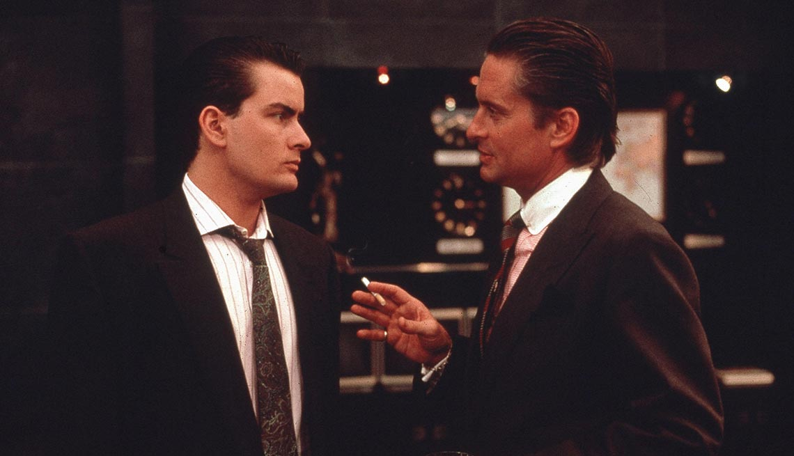 Charlie Sheen and Michael Douglas in 'Wall Street'