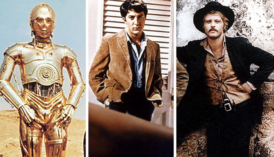 Readers Choice: The Essential Boomer Movies, C-3PO From Star Wars, Dustin Hoffman From The Graduate, Robert Redford From Butch Cassidy And The Sundance Kid