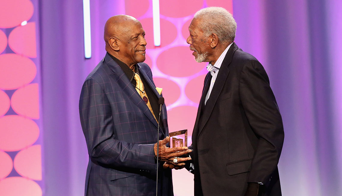 morgan freeman and lou gossett jr. at the aarp movie for grownup awards february 8th 2016