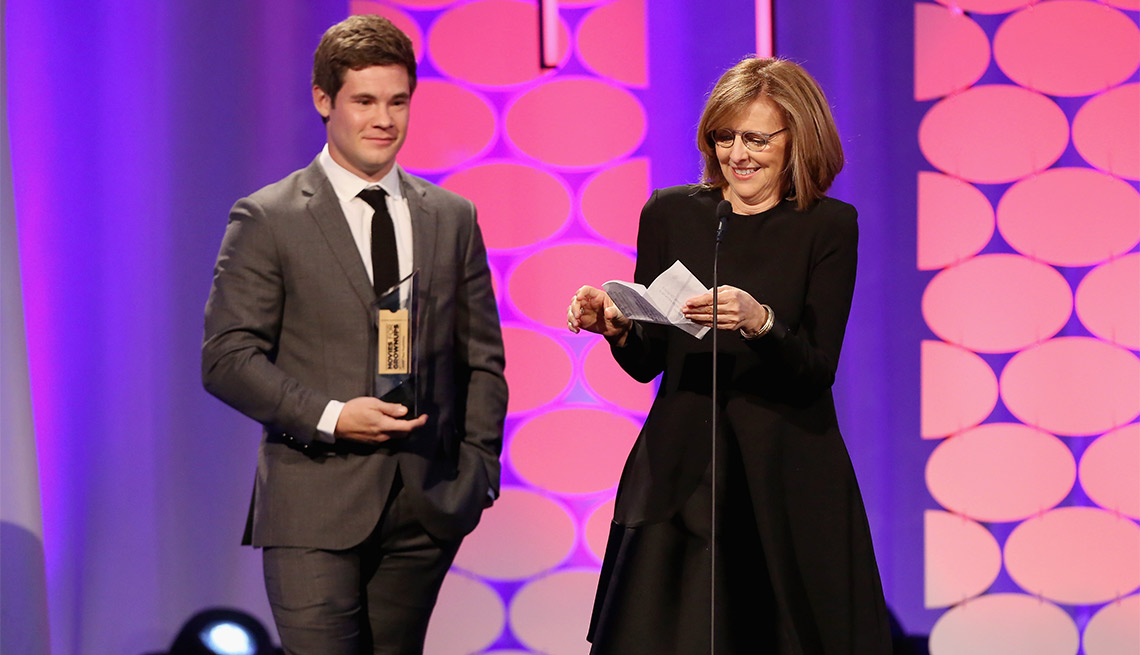 Nancy meyers and Adam Devine at the 15th annual movies for grownups awards