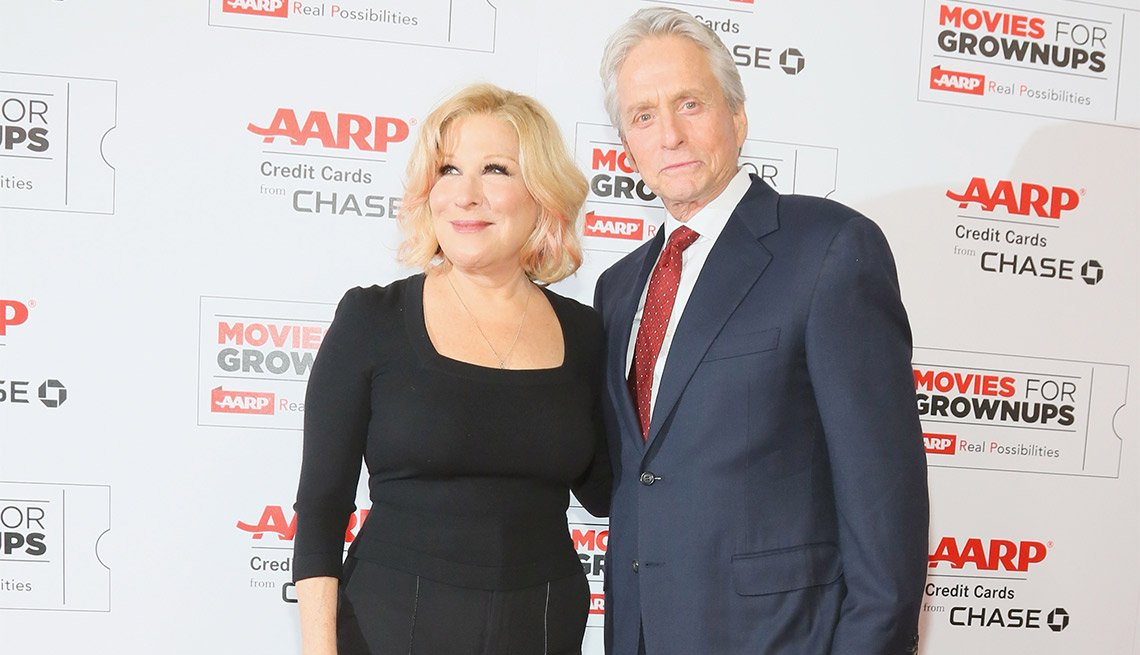 Bette Midler and Michael Douglas at AARPs 15th annual movies for grownups awards