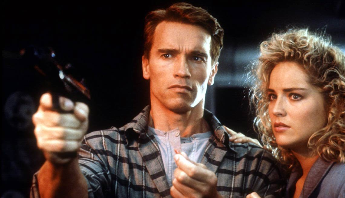 In Total Recall, 1990, with tough guy Arnold Schwarzenegger.